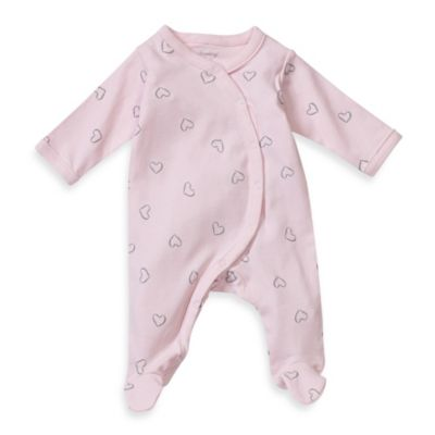 Sterling Baby Preemie Heart Print Footie in Pink
