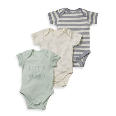 Sterling Baby Newborn Little Peanut 3-Pack Bodysuit Set in Green/Star/Grey Stripe