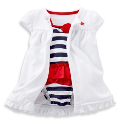 Carter's® Swimsuit with Cover-Up in Red/White/Blue