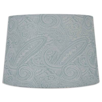 Mix & Match Large 15-Inch Scroll Print Hardback Drum Lamp Shade in Teal