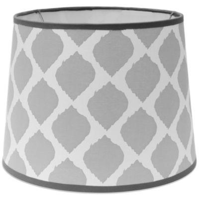 Mix & Match Medium 12-Inch Ikat Drum Lamp Shade in Grey/White