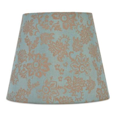Mix & Match Small 10-Inch Floral Hardback Drum Lamp Shade in Teal/Brown