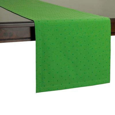kate spade new york Larabee Dot 90-Inch Table Runner in Picnic Green