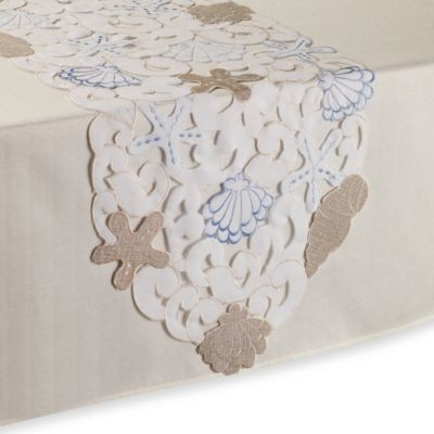 Sam Hedaya Seaside Cutwork 36-Inch Table Runner in White
