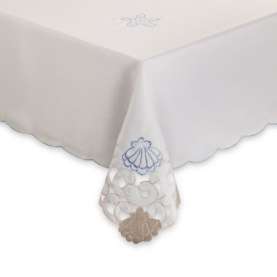 Sam Hedaya Seaside Cutwork 70-Inch Round Tablecloth