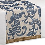 Jute Trim Scroll Table Runner in Blue