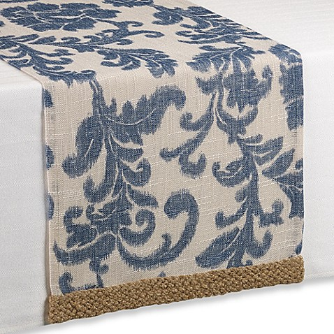 Buy & and Bath Runner Blue Trim Beyond Bed Jute Scroll bed beyond bath from table in  Table at runner