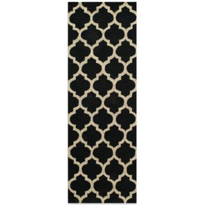 Dimensions 2-Foot 3-Inch x 7-Foot 6-Inch Hook Rug in Black