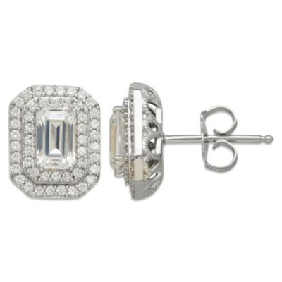 Gemma with Love™ made with Swarovski® Zirconia Sterling Silver Framed Emerald-Cut Earrings
