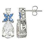 Gemma with Love by Swarovski Zirconia Sterling Silver Blue Flower Zirconia Earrings