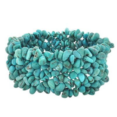 Genuine Turquoise Chips Stretch Bracelet