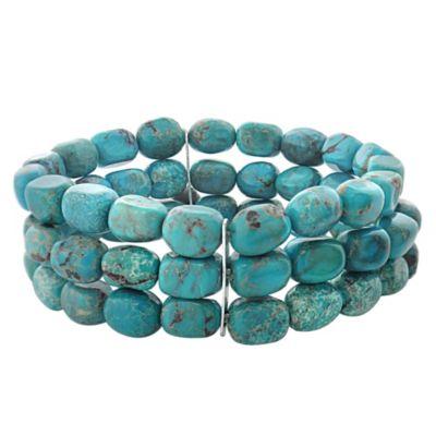 Genuine Turquoise 3-Row Bracelet