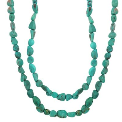 Threaded Genuine Turquoise Nugget Necklace
