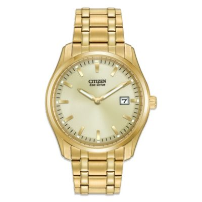 Citizen Eco-Drive Men's Gold Tone Stainless Steel Dress Watch with Champagne Dial