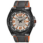 Citizen Men's Eco-Drive BRT Orange Watch with Leather Strap