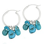 Sterling Silver and Genuine Turquoise J Hoop Earrings
