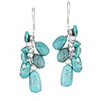 Sterling Silver Genuine Turquoise and Round Bead Drop Earrings
