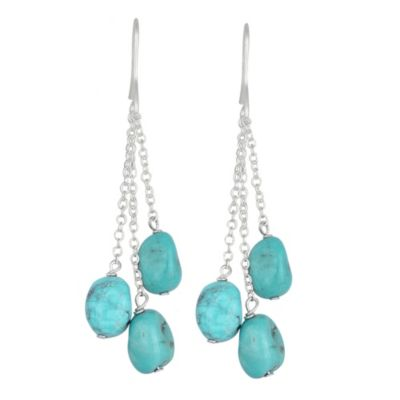 Genuine Turquoise 3-Stone Drop Earrings