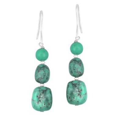 Genuine Turquoise 3-Stone Earrings