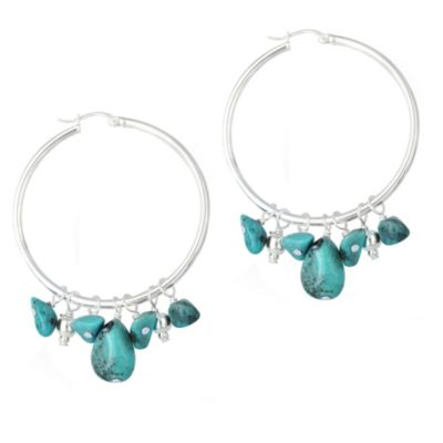 Sterling Silver and Genuine Turquoise Hoop Earrings