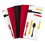 5-Piece Pack of Assorted Utensil Print and Solid Terry Towels
