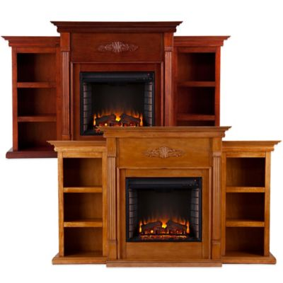 Southern Enterprises Tennyson Pine Electric Fireplace with Bookcases