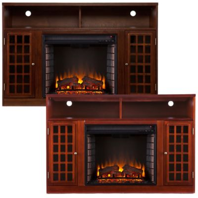 Southern Enterprises Narita Electric Fireplace Media Console in Mahogany