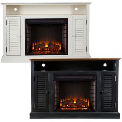 Southern Enterprises Antebellum Media Console Electric Fireplace in Black/Walnut