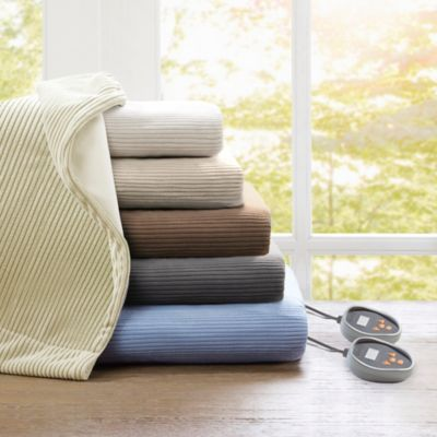 Beautyrest Heated Ribbed Micro Fleece Twin Blanket in Ivory