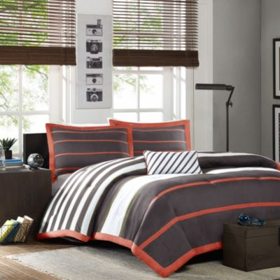 Ashton 4-Piece Full/Queen Comforter Set in Orange