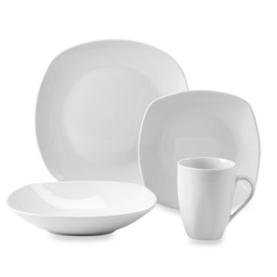 Quinto White Porcelain Square Coupe 16-Piece Dinnerware Set