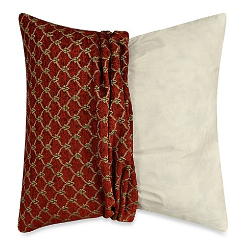 Throw Pillow Covers Bed Bath Beyond : Buy MYOP Fleur Square Throw Pillow Cover in Red from Bed Bath & Beyond