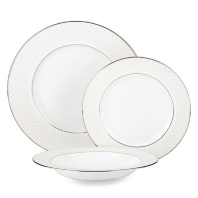 Lenox® Venetian Lace 3-Piece Place Setting with Rim Soup Bowl in White