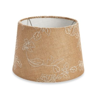 Mix & Match Small 10-Inch Floral Embroidered Lamp Shade in Brown/White