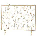 Bird and Branch Fireplace Screen in French Vanilla