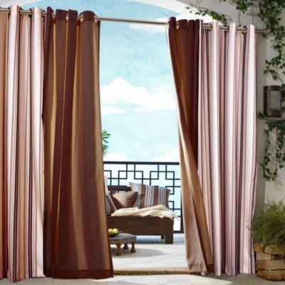 Commonwealth Home Fashions Gazebo Striped 84-Inch Outdoor Curtain in Khaki