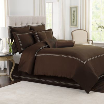 Wamsutta® Baratta Stitch King Comforter Set in Chocolate