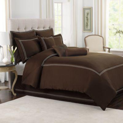 Wamsutta® Baratta Stitch Full/Queen Comforter Set in Chocolate