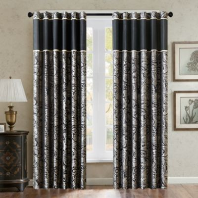 Aubrey 95-Inch Window Curtain Panel in Black