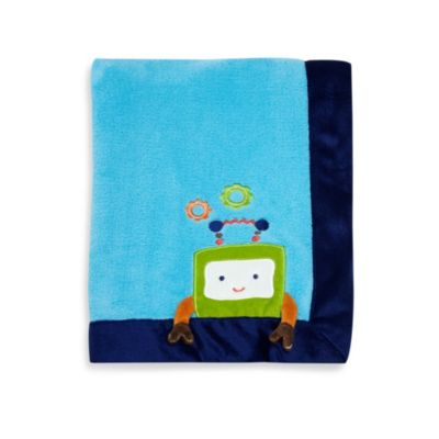NoJo® Baby Bots Appliqued Coral Fleece Blanket