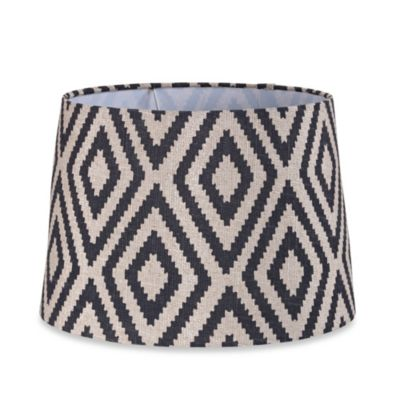 Mix & Match Medium 13-Inch Burlap Ikat Drum Lamp Shade in Black/Tan