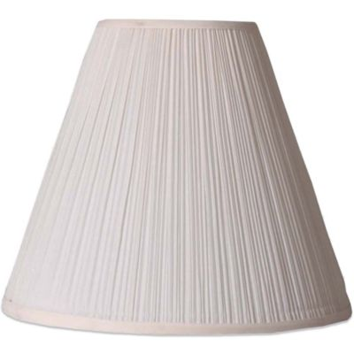 Mix & Match Medium 11-Inch Pleated Hardback Linen Lamp Shade in White/Mushroom