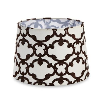 Mix & Match Medium 13-Inch Embroidered Linen Hardback Lamp Shade in Brown