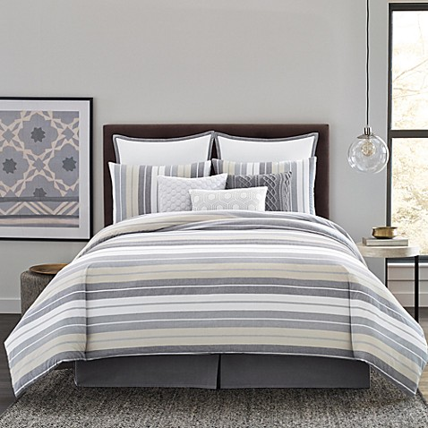 Real Simple 174 Tyler Duvet Cover Set In Grey Ivory Bed