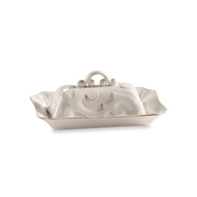 Arabesque White Covered Butter Dish