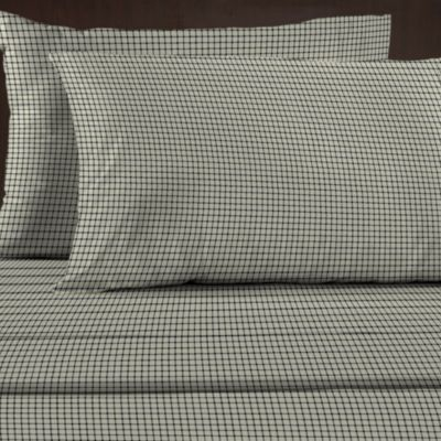 330 Thread Count 100% Cotton Sateen Standard Pillowcases (Set of 2) in Plaid