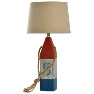 Wooden Buoy Table Lamp in Red/White/Blue