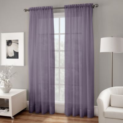 Crushed Voile Sheer 144-Inch Rod Pocket Window Curtain Panel in Purple