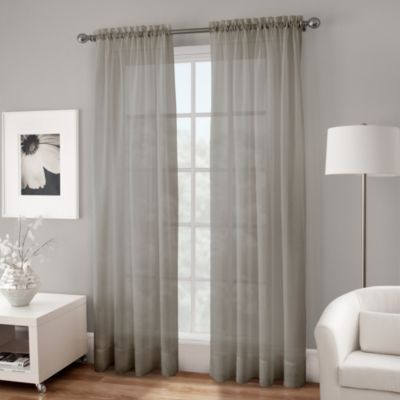 Crushed Voile Sheer 84-Inch Rod Pocket Window Curtain Panel in Grey