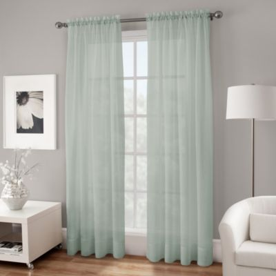 Crushed Voile Sheer 95-Inch Rod Pocket Window Curtain Panel in Spa Blue